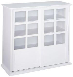 Kings Brand Furniture Wood Curio Cabinet with Glass Sliding Doors, White