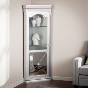 Mirrored Lighted Corner Curio Cabinet
