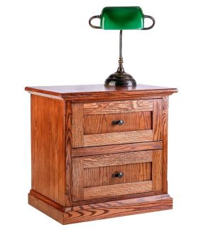 Mission Oak Two Drawer Nightstand Medium Oak