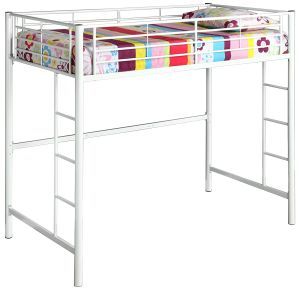 New Twin over Loft Metal Bunk Bed with Ladder, White Finish
