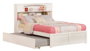 Newport Flat Panel Foot Board with Urban Trundle Bed, Full, White