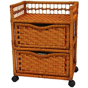 Oriental Furniture 23 Natural Fiber Chest of Drawers on Wheels - Honey