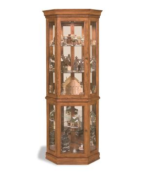 Philip Reinisch Lighthouse Classic Oak Corner Curio Cabinet