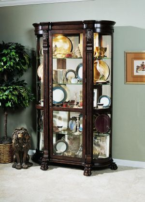 Pulaski Curved End Curio, 53 by 17 by 82-Inch, Brown