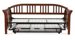 Salem Complete Wood Daybed with Link Spring and Trundle Bed Pop-Up Frame, Mahogany Finish, Twin