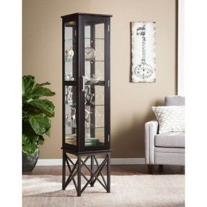 Southern Enterprises Curio Cabinet in Satin Black