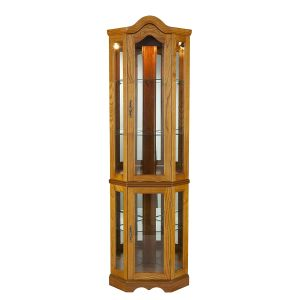 Southern Enterprises Lighted Corner Curio Cabinet, Golden Oak Finish with Antique Hardware