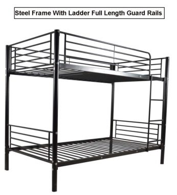 Steel Bunk Bed Twin Over Twin,JULYFOX Modern Bed Frame 550 lb Heavy Duty with Ladders Full Length Side Guard Rails 10 inch Storage Space No Box Spring Needed Bed Platform for Kids Teens Juniors-Black