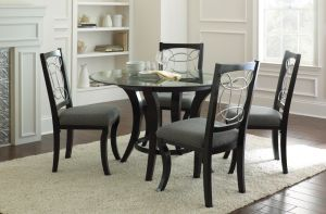 Steve Silver Cayman 5 piece Glass Top Dining Set - Black