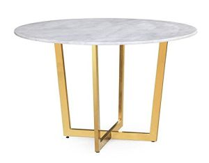 TOV Furniture The Maxim Collection Modern Style Round Marble Top Dining Table with Gold Base, White
