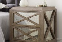 Tommy Hilfiger Ludo Nightstand with Four Antique Mirror Drawers and Crisscrossing Geometry in Light Burnt Oak