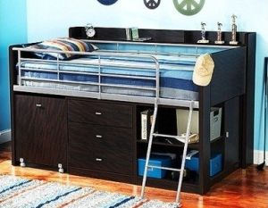 Twin Loft Bed w Desk Kids Bedroom Furniture Set