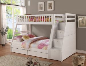 Twin full Storage Step Bunk Bed, 2 Drawers, White