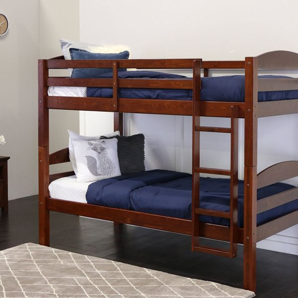 1PerfectChoice Youth Triple 3 Twin Bunk Bed Convert Multiple Beds Daybed Solid Wood Cappuccino