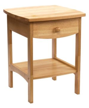 Winsome Wood End Table Night Stand with Drawer and Shelf, Natural