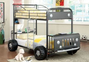 1PerfectChoice-Explorer-Youth-Kids-Rover-Car-Design-Wheel-Twin-Twin-Bunk-Bed-Metal-in-Gun-Gray