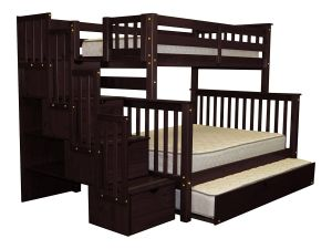 Bedz King Stairway Bunk Beds Twin over Full with 4 Drawers in the Steps and a Twin Trundle, Cappuccino