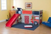 Boys-Fire-Department-Twin-Loft-Bed-with-Slide-Red