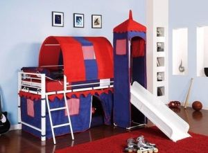 Castle Tent Twin Loft Bed Slide Playhouse