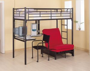 Coaster Fine Furniture 2209 Metal Bunk Bed with Futon Desk Chair and CD Rack, Black Finish