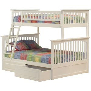 Columbia Bunk Bed with 2 Raised Panel Bed Drawers, Twin Over Full, White
