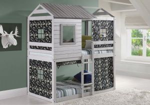 House-Double-Bunk-Beds-with-Camouflage-Tents-Free-Storage-Pockets