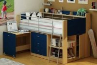 Kids Loft Twin Bed with Desk Bedroom Furniture, Navy and Natural