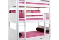 Maxtrix Solid Hardwood Triple Twin-Size Bunk Bed with Straight Ladder and Trundle, White