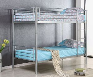 Merax Solid Metal Twin Over Twin Bunk Bed in Slivery Finish