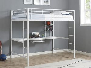 WE Furniture Full Metal Loft Bed with Workstation - White
