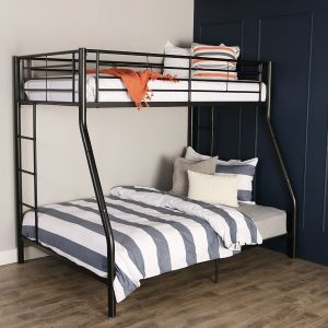 Walker Edison Twin-Over-Full Metal Bunk Bed, Black