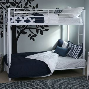 Walker Edison Twin-Over-Futon Metal Bunk Bed, White
