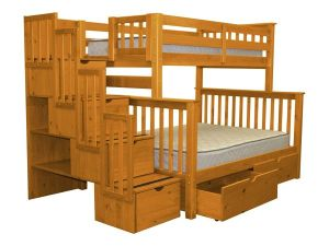 Bedz-King-Stairway-Bunk-Bed-Twin-over-Full-with-4-Drawers-in-the-Steps-and-2-Under-Bed-Drawers-Honey