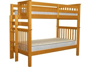 Bedz-King-Tall-Mission-Style-Bunk-Bed-Twin-over-Twin-with-End-Ladder-Honey