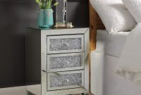 Mirrored Nightstand, Modern Crystal Dimond End Table Mirror Accent Silver Table, Bedroom Mini Cabinet from Mireo Fine Furniture
