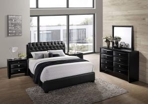 Roundhill Furniture Blemerey 110 Wood Bonded Leather Bed Group with Queen Bed, Dresser, Mirror and 2 Night Stands, Black