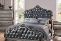 1PerfectChoice Chantelle 3 PCS Set Eastern King Bed in Antique Silver Finish w Two Nightstand