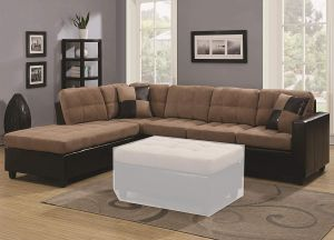 1PerfectChoice Mallory Living Room Reversible Sectional Sofa Tan Microfiber PU Leather Base