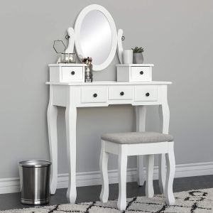 Best Choice Products Vanity Table and Stool Set w Adjustable Oval Mirror, 5 Drawers, Padded Seat - White