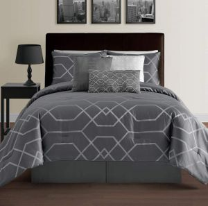 Cozy Beddings Hampton 7-Piece Modern Geometric Comforter Set Down Alternative Hypoallergenic Comforters Comforter, Bed Skirt, Bolster, Pillow and 2 Shams Set, Full, Grey