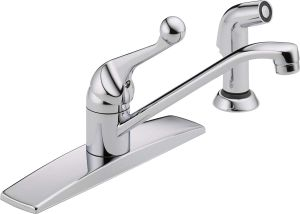 Delta 400LF-WF Classic Single-Handle Kitchen Faucet with Matching Side Sprayer, Chrome