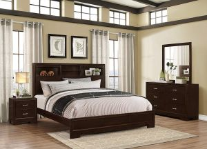 Roundhill Furniture Montana Modern 4-Piece Wood Bedroom Set with Bed, Dresser, Mirror, Nightstand, King, Walnut