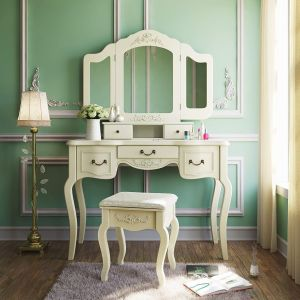 Tribesigns French Vintage Ivory White Vanity Dressing Table Set Makeup Desk with Stool and Mirror Bedroom