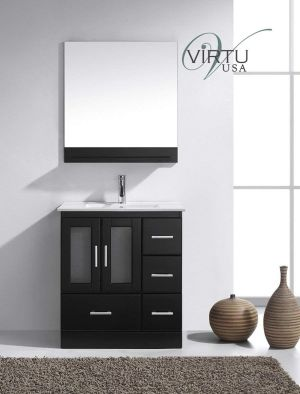 Virtu USA MS-6730-C-ES Modern 30-Inch Single Sink Bathroom Vanity Set with Polished Chrome Faucet, Espresso
