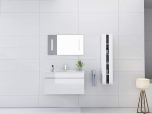 wall mount White Gloss Vanity, White ceramic sink, Wood thermofoil cabinet, matching mirror, bathroom faucets, design modern bath