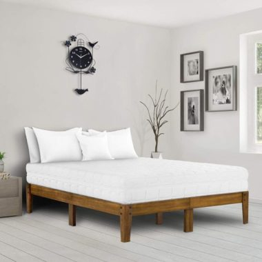 Ecos Living 14 Inch High Rustic Solid Wood Platform Bed with Natural Finish No Box Spring No Squeak Light Brown Queen