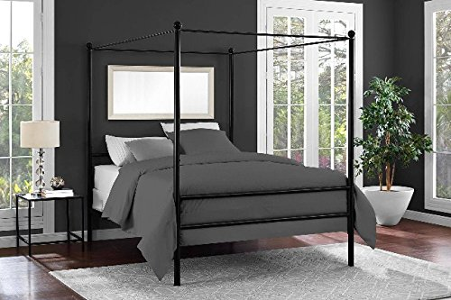 Mainstays Easy to Assemble Modern Design Sturdy Metal Frame Four Post Canopy Bed (Full, Black)
