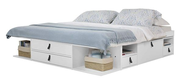 Memomad Bali Storage Platform Bed with Drawers (Queen Size, Off White)