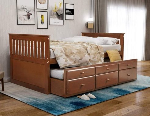 Rhomtree Storage Twin Daybed with Trundle and 3 Storage Drawers Platform Bed Frame with Headboard Footboard Kids Bed (Walnut)