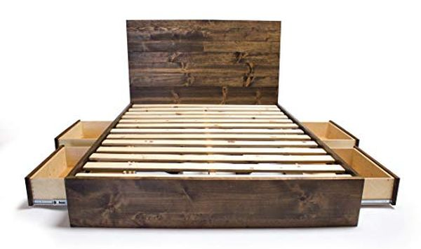 Storage Platform Bed Frame and Headboard Set - Modern Rustic Platform Bed With Drawers